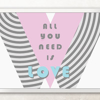 All You Need Is Love / Digital art print set / Ready to print in A4 size and postcard // Decor, greeting card, wall and home decor, pop art