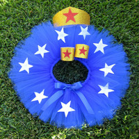 Infant Super Hero Costume. Super Hero Tutu Child Costume Blue tutu with Stars. Red, white, blue and gold tutu set.