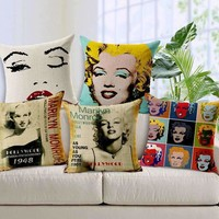 2015 Marylin Monroe Throw Pillow 45X45 Nordic Vintage Star Linen Cushion Audrey Hepburn Almofadas