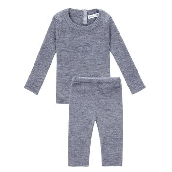 Petit Clair Unisex-baby' Light Grey Knit Set