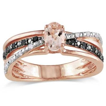 Oval Morganite and Enhanced Black and White Diamond Accent Ring in Rose Rhodium Plated Sterling Silver