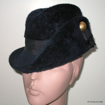 Vintage 1960s Midnight Blue Fur Felt Fedora hat. Made in West Germany. Mod style with Gold Button detail