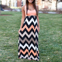 Zigzag Print Sleeveless High Waist A-Line Maxi Dress