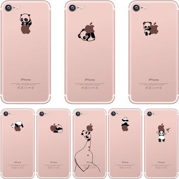 ciciber phone cases Lovely interesting animal pandas design Clear soft silicone TPU case cover for iphone 6 6S 7 8 plus 5S SE X
