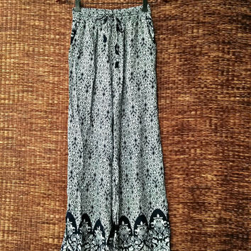 White Palazzo Pants Boho print Style Floral Aztec Vintage Gypsy Hippies Clothing Summer Trousers Bohemian festival women fashion black gift