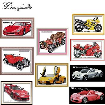 Red car cross stitch set fashion pattern DMC color count print 18ct 14ct 11ct embroidery kit DIY handmade needlework supplies