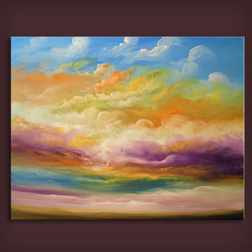 "30"" x 36"" x 1.5"" abstract painting cloud landscape art original HUGE retro vintage wall decor illustration"