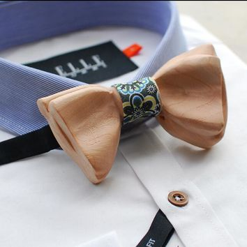 Curved Butterfly Carved Wooden Bow Tie