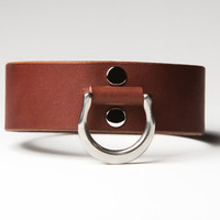 Leather Bondage Collar - Chestnut Brown Latigo - Steel Lead Ring -  Nickel Fasteners