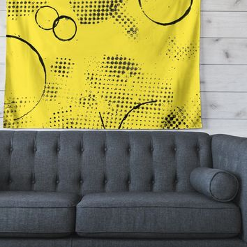 """Bruce Stanfield """"Traces Texture In Yellow"""" Black Yellow Painting Wall Tapestry"""
