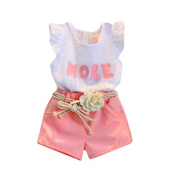 Toddler Girls Print Sleeveless T-Shirt+Shorts+Belt Outfits