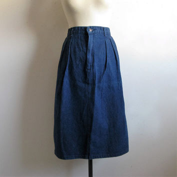 Vintage 1980s Pencil Skirt LEVI Misses 80s Denim Skirt Blue Jean Skirt Large