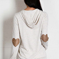 Striped Hoodie with Heart-shaped Patches