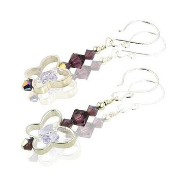 Amethyst Butterfly Dreams Crystal Beaded Earrings