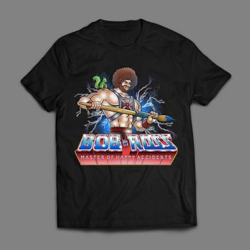 BOB ROSS MASTER OF THE HAPPY ACCIDENTS HE-MAN MASH UP T-SHIRT