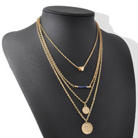 Gold Long 4 Layer Layering Necklace Set with Charms