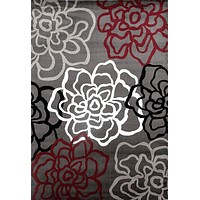 3801 Red Contemporary Area Rugs