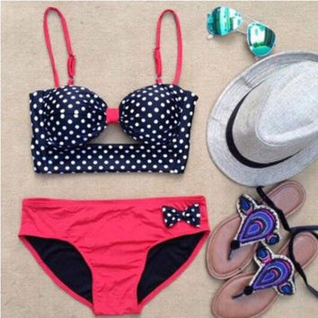 Summer Beach Hot Swimsuit New Arrival Spaghetti Strap Sexy Tankini Butterfly Bikini [6533313927]