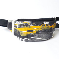 Fanny pack waist bag festival belt bag hip bag by BartekDesign - New York yellow taxi usa 4th Juli black print