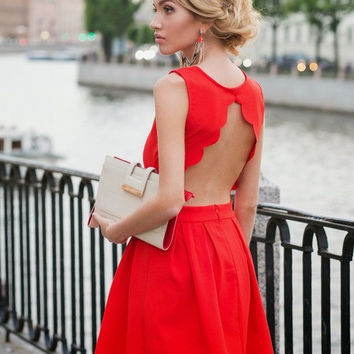 Open Back Red Skater Dress