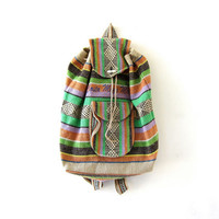 Vintage Woven Backpack. Ikat Rucksack. Mexican Bucket Bag. Drawstring Bag. Shoulder Purse.