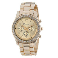 Essential Shock Resistant Faux Chronograph Quartz Plated Women Crystal Watch