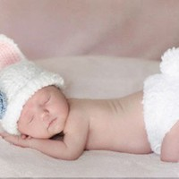 Joy Baby Rabbit Baby Infant Costume Photography Prop 0-6 Months Newborn White Color