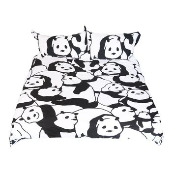 Cartoon Bedding Set for Kids Animal Series Duvet Cover Set Panda Coral Bedclothes Black and White Home Textiles