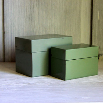pair of industrial metal  card file boxes green // photo recipe box  // 3 x 5 - 4 x 6 file box // vintage office urban storage organization