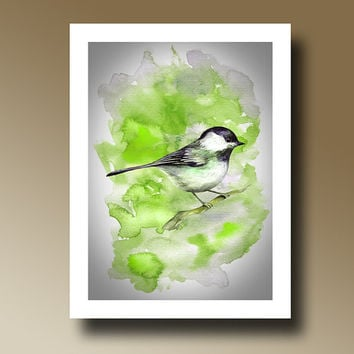 Print of Bird Green Watercolor Painting Wall hanging Decorative Art Home Decor 14016