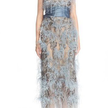 Marchesa Beaded & Feathered Tea Length Dress | Nordstrom