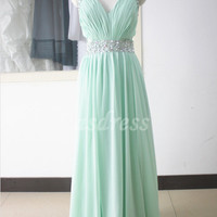 Sexy Tiffany Blue Bridesmaid Dress Homecoming Halter Prom Evening Ball Gown Party Dress beaded Sequins Long Mint Chiffon bridesmaid dress