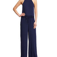 Diane von Furstenberg Davin Silk-Blend Drawstring Jumpsuit, Midnight