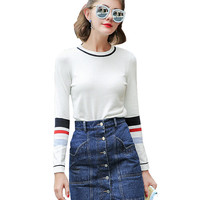 Long Sleeve White Jumper with Stripe Detail