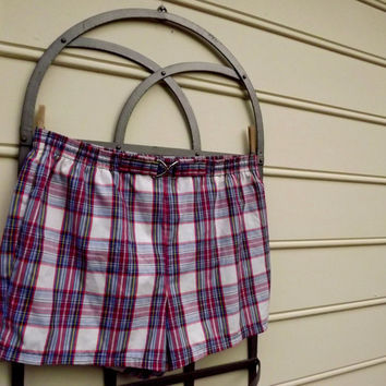 Mens Bathing Suit, Preppy Plaid Swimsuit, Vintage 1970s Swim Trunks, Jantzen Size 42 XL, Mens Clothing Swimwear