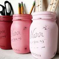 Dorm Decor - Roxy Girl - Painted and Distressed Mason Jars - Vase - Wedding Centerpiece - Home Decor
