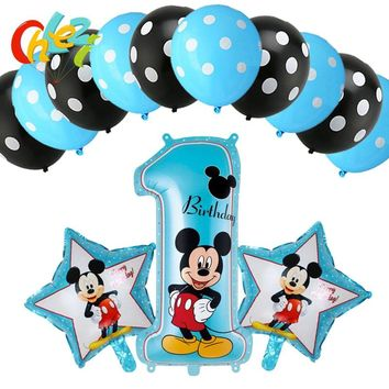 13pcs Mickey Minnie Mouse Number Foil Balloons Star Heart Helium Latex Globos Baby Shower Birthday Party Decor Supplies KidsToys
