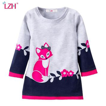 LZH Toddler Girls Dress 2018 Spring Autumn Kids Dresses For Girls Fox Flora Long Sleeve Princess Party Dresses Children Clothing