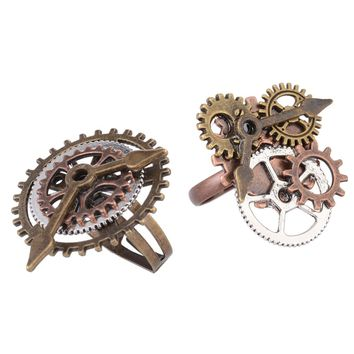 2 Pieces Antique Steampunk Watch Part Gears Wheel Rings Fashion Jewelry 17mm