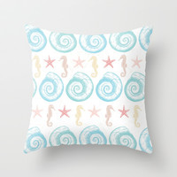Beachy Keen Throw Pillow by NisseDesigns
