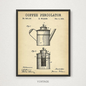 Coffee Percolator Patent Printable, 4 COLORS, Coffee Poster, Kitchen Wall Art, Vintage Coffee Patent Print, Coffee Print, Digital Download