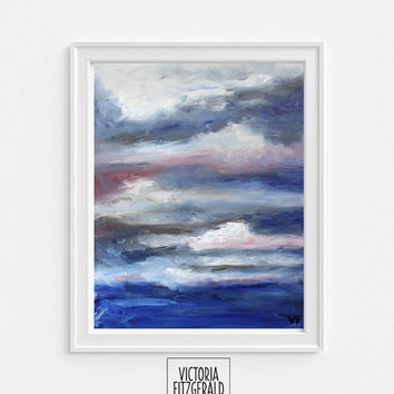 13x19 in Large Art Print of Original Oil Painting 'Catharsis', Abstract Art, Cloud Painting, Blue and Grey State of Being Alphabet Series