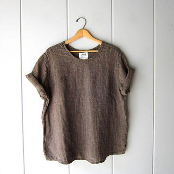 Slouchy FLAX Blouse Thick Woven LINEN Shirt 90s Minimal Linen Loose Fit Top Modern Brown Pink Boho Slouchy Vintage Womens Medium Large