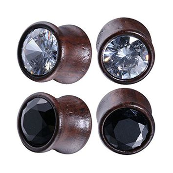 BodyJ4You 4PC Crystal Jeweled Saddle Plugs Natural Wood Ear Gauges Tunnels Stretcher Set 0G (8mm)