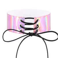 Holographic Iridescent Lace Up Wide Chokers