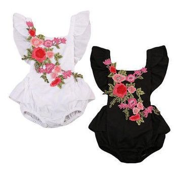 Newborn Baby Girl Rose Romper