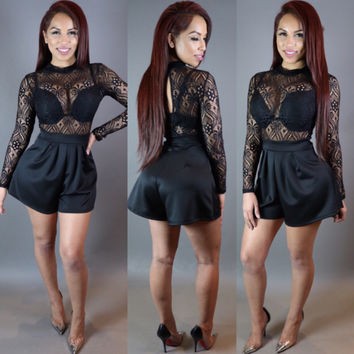 Black Lace Spliced Long Sleeve Romper