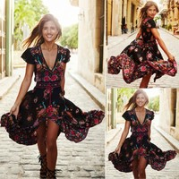Women Ladies Fashion Sweet Summer Chiffon Dress Deep V-Neck Sashes Floral Print Ruffles High Waist Ankle-Length Dress