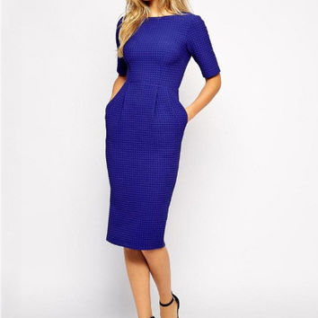 Short Sleeve Side Pocket Pencil Midi Dress