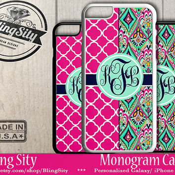 Monogram iPhone 6S Plus 6 5S 5C 4S Case Hot Pink Aztec iPhone Case Ipod 4 5 Touch Cover Jewels Quatrefoil Mint Pink Personalized